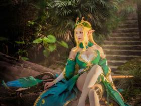 王者荣耀精灵公主Cosplay 白丝高跟性感美胸福利图片
