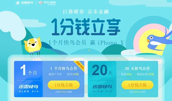 京东金融1分钱购买一个月迅雷快鸟会员_新老用户可参与