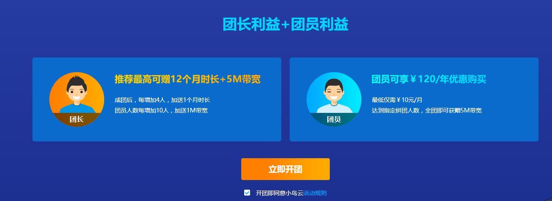 小鸟云拼团购服务器年付最低120元 最高5M宽带