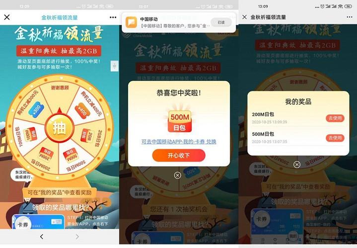 中国移动用户免费抽100M-2G日包流量活动 基本都中!